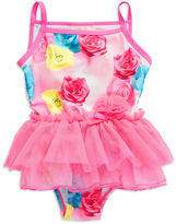 Flapdoodles Girls 2-6x Rose Print Swimsuit