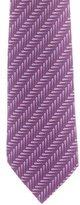 Hermes Horseshoe Pin Print Silk Tie