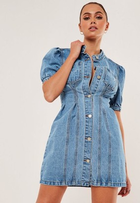 Missguided Light Blue Cinched Waist Denim Mini Dress