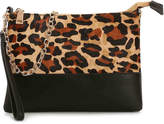 La Diva Women's Convertible Crossbody Bag -Tan/Black Leopard Print Faux