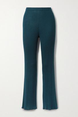 SABLYN Jordan Ribbed Cashmere Straight-leg Pants - Emerald