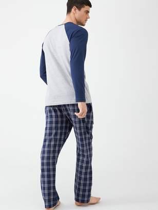 Very Long Sleeved Raglan Top & Checked Bottoms Pyjamas - Grey Marl/Navy