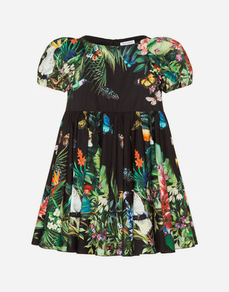 Dolce & Gabbana Midi Dress In Poplin With Jungle Print