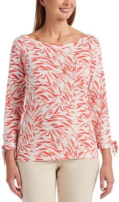 Rafaella Women's Print Tie-Sleeve Top