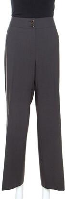 Armani Collezioni Brown Wool Wide Leg Trousers L