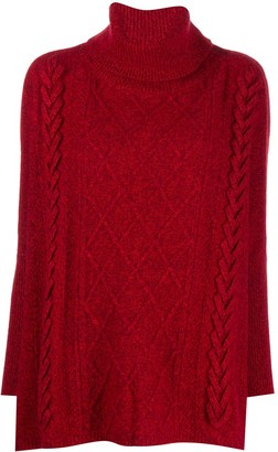 N.Peal Roll Neck Cable-Knit Jumper