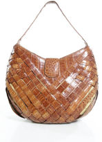 Nancy Gonzalez Brown Genuine Crocodile Woven Detail Hobo Handbag