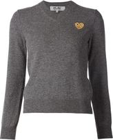 Comme des Garcons embroidered heart v-neck jumper - women - Wool - S