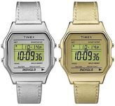 Timex 80 | Leather Strap Timer Indiglo Day/Date | Vintage Digital Watch