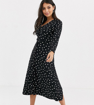 New Look Petite polka dot button front dress in black