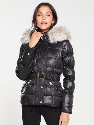 River Island Quilted Sleeve Padded Jacket- High Shine Black