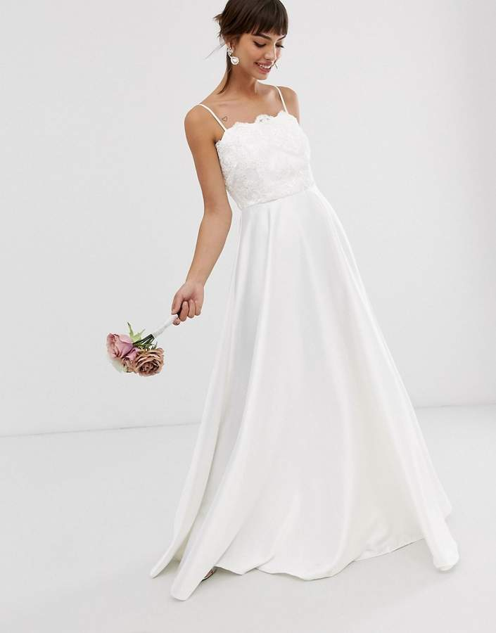Asos Edition EDITION beaded lace cami wedding dress with satin skirt