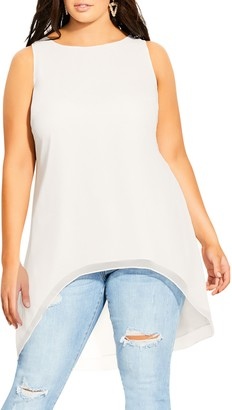 City Chic Bella Vacanza Collection Sevil High/Low Sleeveless Top