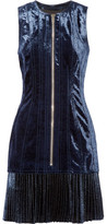 3.1 Phillip Lim Velvet And Metallic Chiffon Mini Dress - Navy