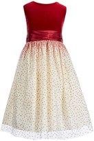 Jayne Copeland Big Girls 7-12 Velvet Dotted Colorblock Dress
