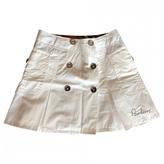 Burberry White Cotton Skirt