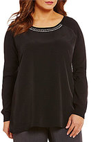 Calvin Klein Plus Embellished Neck Long Sleeve Top