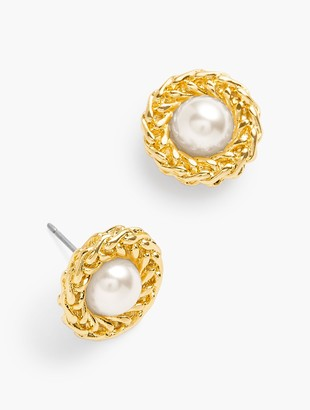 Talbots Gold Nest Pearl Earrings