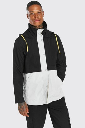 boohoo Mens Black Colour Block Lightweight Parka, Black