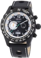 Nautec No Limit Men's Quartz Watch with Black Dial Chronograph Display and Black Leather Strap XL IP QZ LTSTBKBK / Indianapolis