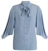 Prada Tie-neck silk crepe de Chine blouse