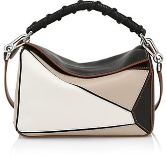 Loewe Small Puzzle Colorblock Leather & Cotton Bag