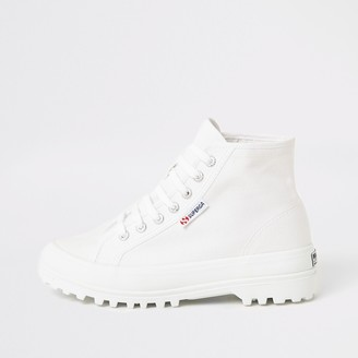 Superga River Island Womens White lace-up chunky sole boots