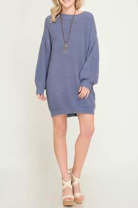 She + Sky Shift Sweater Dress