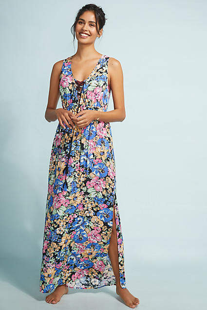 Anthropologie Lace-Up Maxi Dress