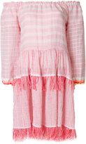 Lemlem off-shoulder tassel dress - women - Cotton/Polyester - M