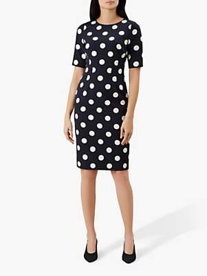 Hobbs Astraea Spot Dress, Midnight Ivory