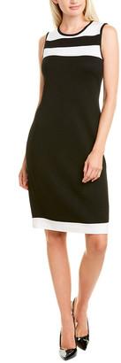 St. John Colorblocked Wool-Blend Shift Dress