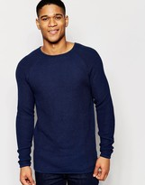 !solid Textured Knitted Jumper With Raglan Sleeves