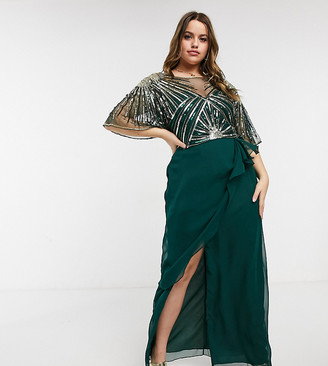 Virgos Lounge Plus ruched side detail maxi dress in emerald green