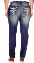 Soundgirl Z2 Faux Leather-Pocket Destructed Bootcut Jeans - Juniors Plus