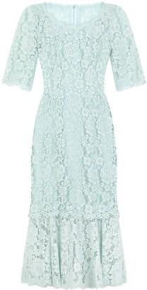 Dolce & Gabbana Floral Lace Ruffle Hem Shift Dress