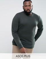 Asos PLUS Lightweight Muscle Sweatshirt In Green