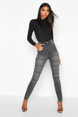 boohoo Tall Distressed Slash Rip Jeggings