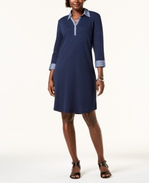 Karen Scott Petite Contrast-Trim Cotton Shirtdress, Created for Macy's