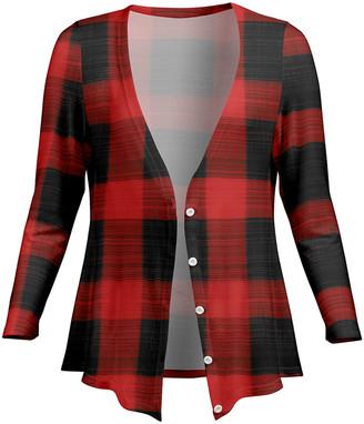 Lily Women's Open Cardigans BLK - Black & Red Buffalo Check V-Neck Button Cardigan - Women & Plus