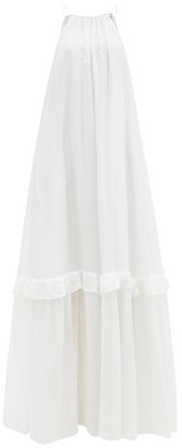 STAUD Ina Tiered Halterneck Muslin Maxi Dress - White