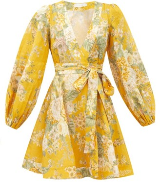 Zimmermann Amelie Floral-print Linen Sun Dress - Yellow Print