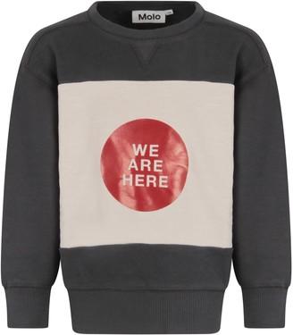 Molo Grey Sweatshirt For Boy With Writing