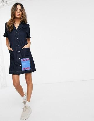 Calvin Klein denim button down dress with logo patch