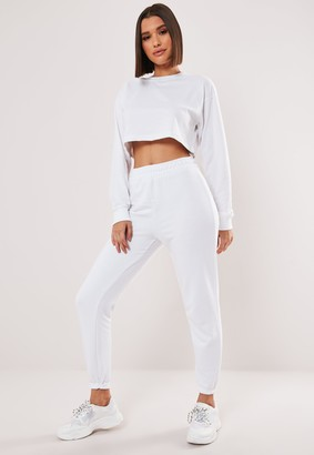 Missguided White Crop Sweatshirt And Joggers Co Ord Set