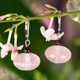 Fair Trade Rose Quartz Dangle Earrings, 'Rose of Thailand'