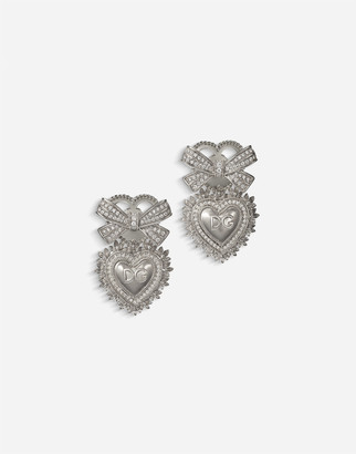 Dolce & Gabbana Devotion Earrings In White Gold With Diamonds