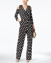 NY Collection Off-The-Shoulder Polka-Dot Jumpsuit