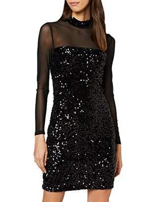 Warehouse Women's Velvet Sequin Mesh Sleeve Dress