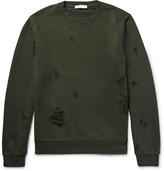 Sandro - Distressed Loopback Cotton-jersey Sweatshirt
